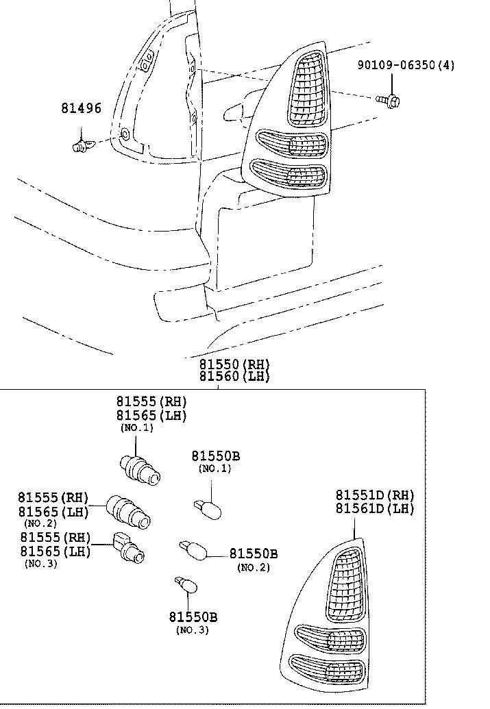 Toyota 81555/81565 NO.2 REAR COMBINATION LAMP SOCKET